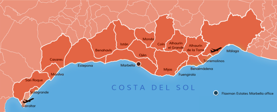 Costa del Sol map, Flaxman Estates